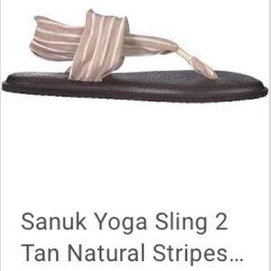 Sanuk Yoga Sling Casual Sandal Natural Tan Stripe